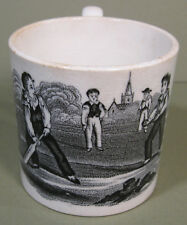 Early 1800s Child's Black Transferware Cup, Boys Playing Cricket