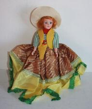 "Vintage Cowgirl Doll Movable Eyes Bands In Neck & Shoulders Hard Plastic 7 1/2"""