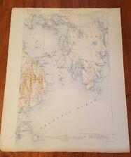 1924 RADIO STATION MAP Portland Bangor Houlton Skowhegan ME MAINE Montreal HUGE