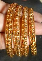 22K Gold Plated Indian 4 Pcs Slim Churi Bangle Ball Shape 2.4''