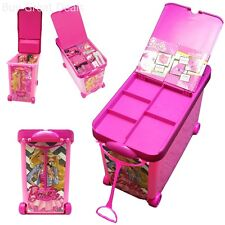Rolling Bin Storage Case Carry Box Playset Store for Barbie Collection Dolls