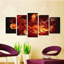 5 Piece Modern Art Abstract Canvas Painting Wall Framed Fire Big Ready to Hang
