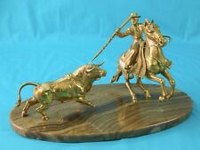 Vintage Bronze Gold Sculpture Statue Figurine Mexican Spanish Picador Bull Art