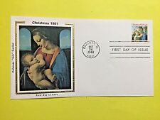 "1981 #1939 20c Christmas Madonna Stamp  Colorano ""Silk""  Cachet FDC"