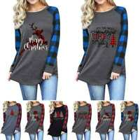 Womens Xmas Casual Pullover T Shirt Merry Christmas Long Sleeve Tops Blouse 8-22