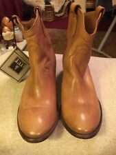 Frye Genuine Tan Leather Cowboy Boots 8 NEW