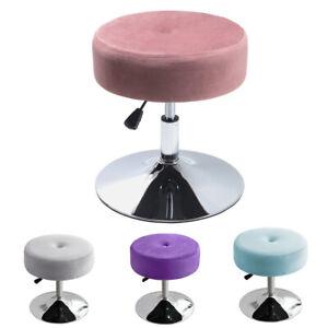 Round Swivel Dressing Table Chair Velvet Vanity Stool Bedroom Makeup Padded Seat