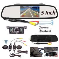 5'' LCD Car TFT Monitor Mirror Wireless Car Reverse Rear View Backup Camera Kit