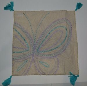 "Pottery Barn Kids Linen Butterfly Embroidered Pillow Cover  16"" #245"