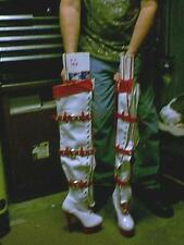 Funthttp red/White Crotch high Boots-Women's Size 7 MEN 5