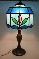 """🔴Vintage Heyco Slag Stained Glass Lamp Tulips Bronze Tiffany Style Height 21"""""""