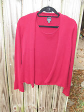 Eileen Fisher-Size Small Red Silk & Cotton Blend Twin Set, Tank & Open Cardigan