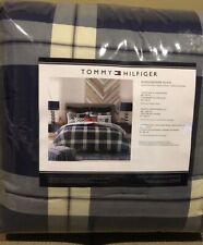 Tommy Hilfiger XL Twin Comforter Set, Blue/Grey WindowPane Plaid, New