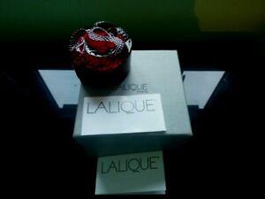Fabulous Lalique Red Coiled Snake Circular Vanity Dresser Trinket Box NIB