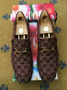 Gucci Mens Shoes Brown Canvas Leather Horsebit Loafers UK 11 US 12 45 Monogram