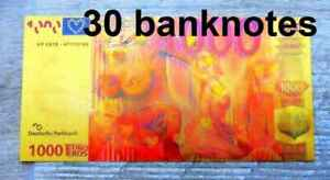 "●●● EUROPE EUROPA  : 30 x  "" GOLD "" POLYMER BANKNOTES 1000 EUROS SEXY ●●● C"