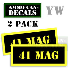 41 MAG Ammo Can Box Decal Sticker Set bullet ARMY Gun safety Hunting  2 pack YW