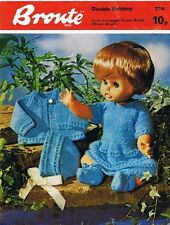 Dolls Clothes Knitting Pattern Copy 4 Ply skirt coat bonnet top 30 - 40cm doll
