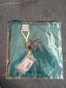 New Luxury Canali men 100% silk geometric print  pocket square Italy green