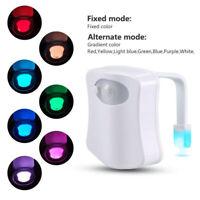 Toilet Night Light 8 Color LED Motion Activated Sensor Bathroom Toliet Bowl Seat