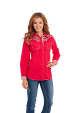 Ladies Cowgirl Up Long Sleeve Heavy Enzyme Wash Woven Shirt CG60204 Size Small