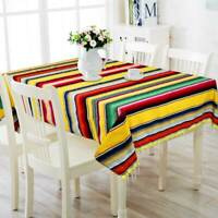Colorful Mexican Blanket Striped Tablecloth Outdoor Table Cover Fiesta Party Hom