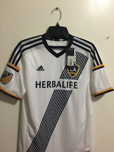 Adidas LA Galaxy Home Jersey 2014 White Navy Soccer Jersey Size YXL Only