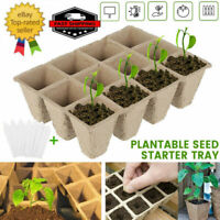 10X 10Cells / 12Cells Seed Trays Plant Seedling Starter Biodegradable W/Labels