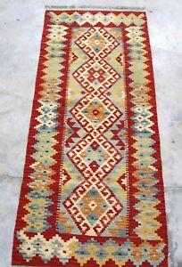 Afghan Kundoz Genuine Handmade Tribal Rust Multi Color Wool Kilim  59x148cm
