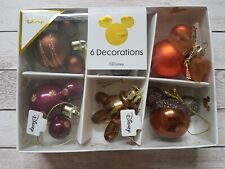 Bronze Mickey Minnie Mouse Baubles Christmas Decorations 6 Pack Bauble Primark