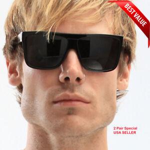 MENS Black Flat Top OG Motorcycle Style Sunglass New Super Dark Lens Sunglasses