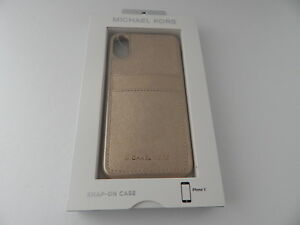 Michael Kors Saffiano Leather Snap On Case for iPhone XS iPhone X Pale Gold New