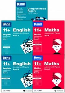 Bond 11+ English and Maths Assessment Papers 5 Books Set 10-11+ years Book 1 & 2
