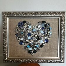 vintage jewelry art, Heart, Christmas tree's, Angels, Flower vases, etc. framed