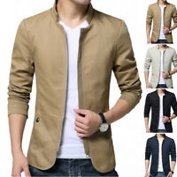 Mens Business Stand Slim Fit Blazer Suit Buttons Jacket Collar Coat Outwear Tops