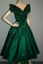 S Green Tafetta Vtg 80s Party Prom Dress A Angelo Portrait Off Shoulder Gown