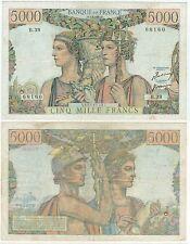 BILLET 5000  FRANCS TERRE ET MER B 1 2 1951 B B 39 68160