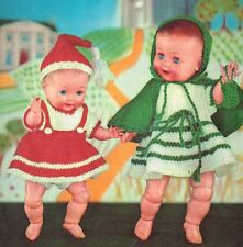 "Dolls clothes for an 11""and 13"" Baby doll Knitting pattern. (V Doll 112)"