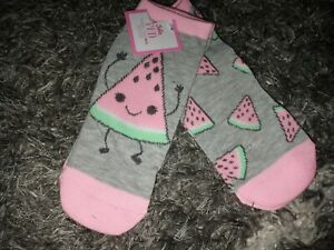 Justice 2pk no show glitter watermelon socks new size M/L