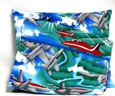 Airplanes Toddler Pillow and Pillowcase set on Blue Cotton #Ap9 New Handmade