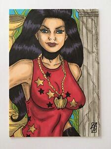 ACEO DC COMICS 1/1 Original WONDER GIRL DONNA TROY SKETCH CARD by Sean Stannard