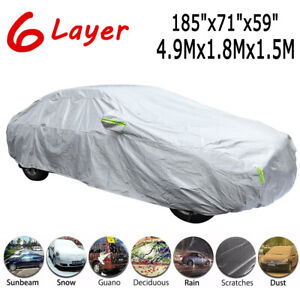 Universal Car Cover Waterproof All Weather Protection Snow Dust Sun UV Resistant