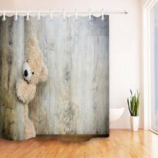 Playful Teddy Bear Hide Door Shower Curtain Bathroom Waterproof Fabric Hooks Set