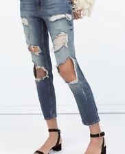zara mid rise vintage wash ripped distressed thrashed denim cigarette jeans