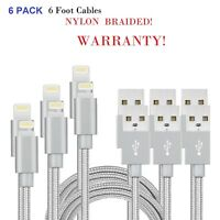 6 PACK Nylon Braided Lightning USB Data Cable Charger Cord for iPhone X 8 7 6