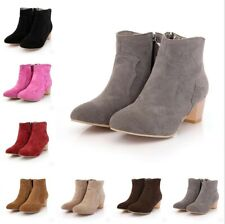 Women's Suede Fabric Ankle Boots Side Zip Block 5cm Heel Casual Shoes Size 34-43