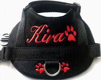 Hundegeschirr S M mit Namen Brustgeschirr Hunde Halsband Softgeschirr schwarz