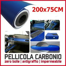 PELLICOLA ADESIVA 75x200 CM CARBONIO TRAMA 3D CAR WRAPPING X AUTO MOTO BLU