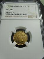 Newfoundland 1882 H, 2 Dollars Gold, NGC AU58