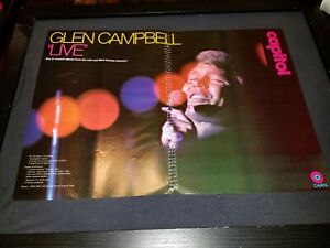 Glen Campbell Live In New Jersey Rare Original Promo Poster Ad Framed!
